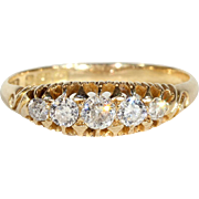Antique Diamond 5 Stone Ring in 18k Gold