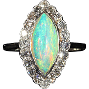 Antique Edwardian Opal and Diamond Marquise or Navette Shaped Cluster Ring in Platinum