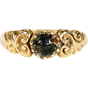 Antique Edwardian Art Nouveau Moss Agate Ring in 18k Gold