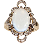 Edwardian Moonstone Diamond Gold Ring