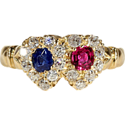 Antique Victorian Diamond, Ruby and Sapphire Double Heart RIng in 18k Gold