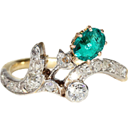 Antique Art Nouveau Emerald and Diamond Ring with Floral Spray Motif in 18k Gold and Platinum