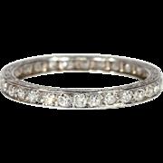 Diamond Wedding Band, Vintage Art Deco, French Eternity sz 7