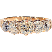 Victorian Five Stone Diamond Ring in 18k Rose Gold