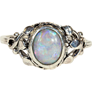 Antique Arts & Crafts Silver and Opal Ring with Leaf Motif
