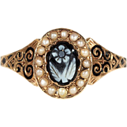 Antique Victorian Forget-Me-Not Hardstone Cameo Ring with Pearls and Black Enamel, Memorial Ring