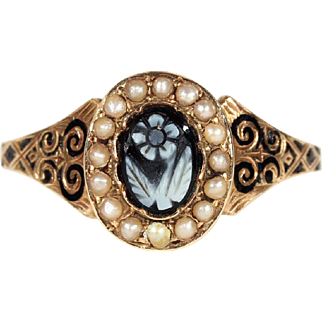 SALE Antique Victorian Forget-Me-Not Hardstone Cameo Ring with Pearls and Black Enamel, Memorial Ring