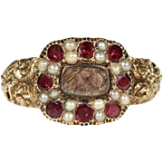 Antique Georgian Pearl and Garnet Memorial Ring, Inscribed 1819