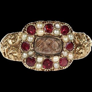 Antique Georgian Pearl and Garnet Memorial Ring, Inscribed 1819