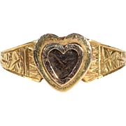 Antique Heart Shaped Locket Ring in 15k Gold