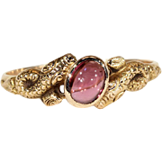 Antique Victorian Garnet Snake Ring in 18k Gold