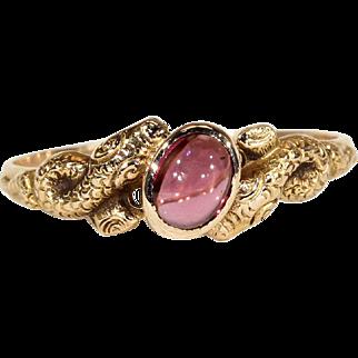 Antique Victorian Garnet Snake Ring in 18k Gold