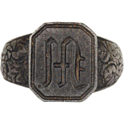 Antique Berlin Iron Signet Ring with M or W Initial, Man's Ring, Circa 1815