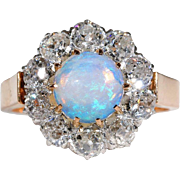 Stunning Antique 3ctw Diamond & Opal Cluster Ring, French c. 1890 - VIDEO
