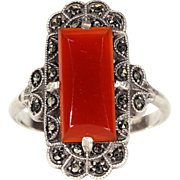 Vintage Art Deco Carnelian and Marcasite Ring in Silver