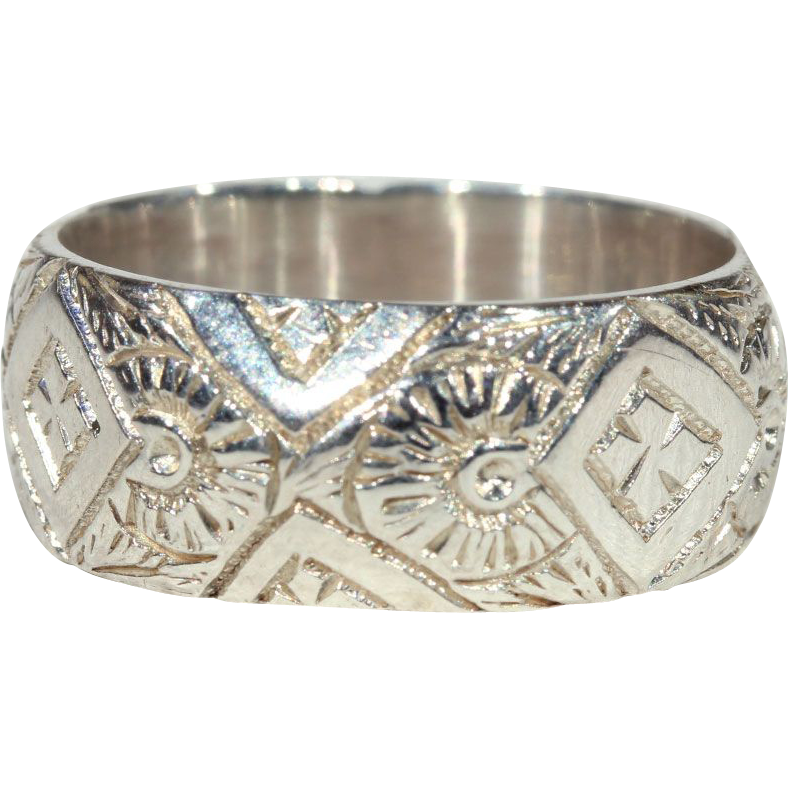 Victorian Silver Engraved Band, Birmingham 1890