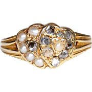 Antique Double Heart Diamond Pearl Ring Hallmarked 1870