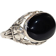 Art Deco Sterling Onyx Love Birds Ring