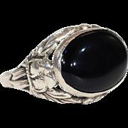 Art Deco Sterling Onyx Love Birds Ring