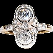 Antique Edwardian Double Diamond Ring 15k Gold Silver Set
