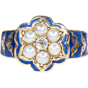 Victorian Blue Enamel Pearl Diamond Memorial Ring