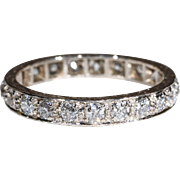 Vintage Old European Cut Diamond Eternity Band Ring Size 8 1.6cttw