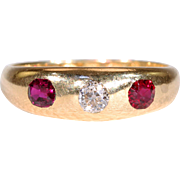 Victorian 3 Stone Diamond and Ruby Gypsy Ring in 18k Gold