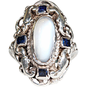 Antique Victorian Moonstone Silver Ring