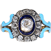 Antique Diamond Cluster Ring with Dark and Light Blue Enamel 1.4cttw