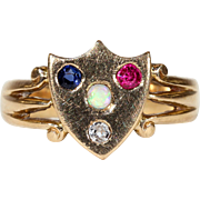 Victorian Sapphire Diamond Ruby Opal Shield Ring