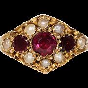 Antique Georgian Garnet and Pearl Ring