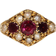 Antique Georgian Garnet and Pearl Ring