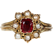 Antique Garnet and Pearl Cluster Ring