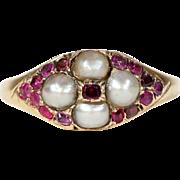 Antique Victorian Pearl Garnet Ring