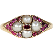 Antique Victorian Pearl Garnet Ring
