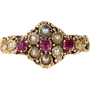 Early Victorian Ruby Pearl Ring