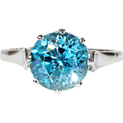 Edwardian Blue Zircon Solitaire Ring Platinum
