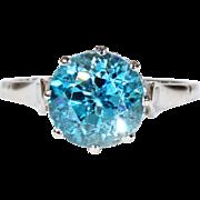 Edwardian Blue Zircon Solitaire Ring Platinum