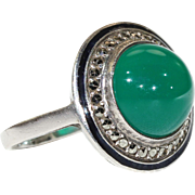 Vintage French Art Deco Chalcedony Marcasite Enamel Ring