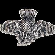 Vintage Scottish Thistle Ring Silver