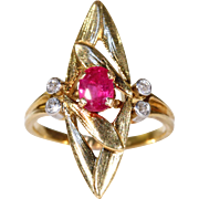 Antique French Art Nouveau Ruby Diamond Ring
