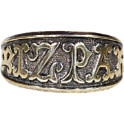 Antique Victorian Mizpah Ring Silver Gilt