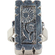 Vintage Art Deco Daisy Silver Ring Dutch