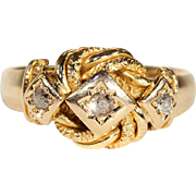 Man's Heartfelt Edwardian Love Knot Wedding Band Ring