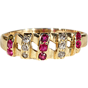 Vintage Art Deco Diamond and Ruby Ring in 18k Gold, Stacking Ring