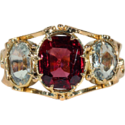 Antique Victorian Garnet and Aquamarine Ring in 18k Gold