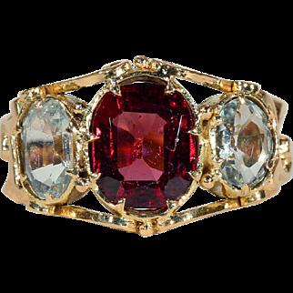 Antique Victorian Garnet and Aquamarine Ring in 18k Gold