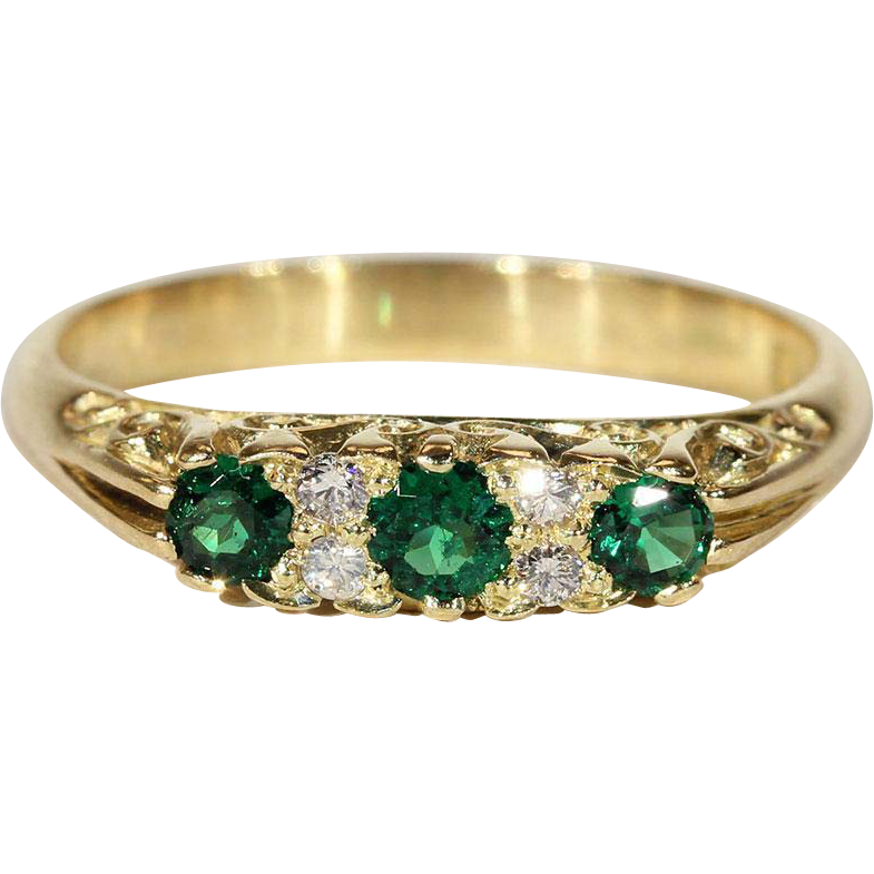 Vintage 18k Green Garnet and Diamond Ring c.1960, *VIDEO*