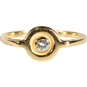 Vintage Diamond Target-style Engagement Ring in 18k Gold