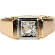 Vintage Retro Rose Cut Diamond Ring in 18k Gold